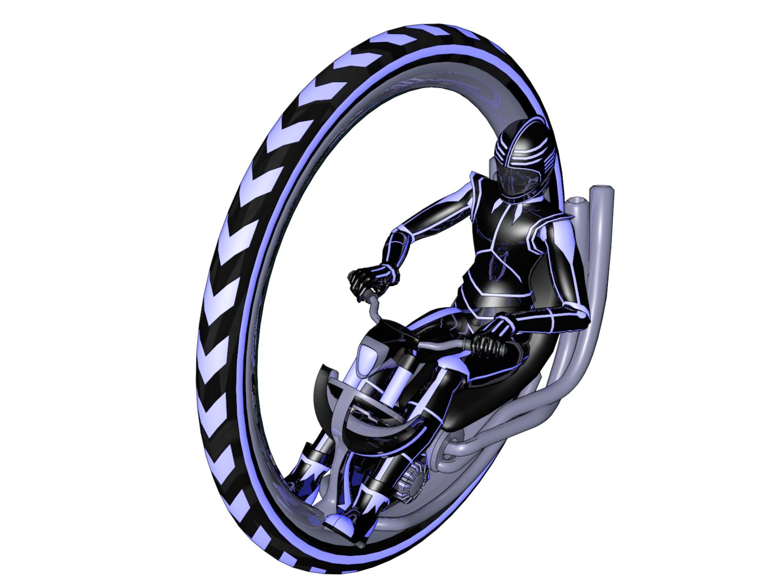 Monowheel Cycle Isometric View