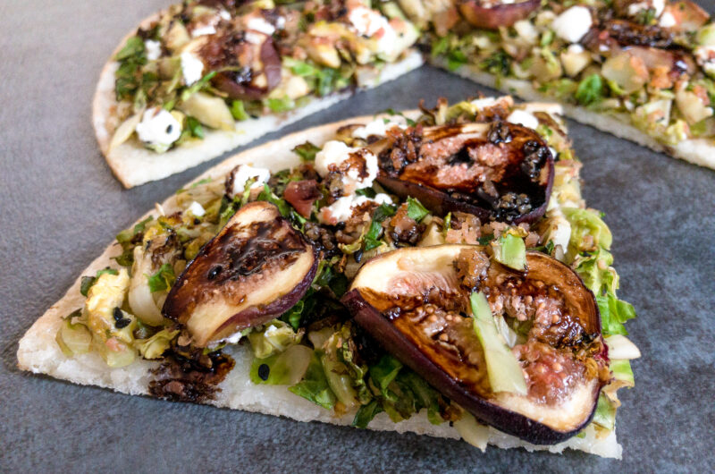 Cauliflower Pizza with Brussels Sprouts, Fig and Goat Cheese