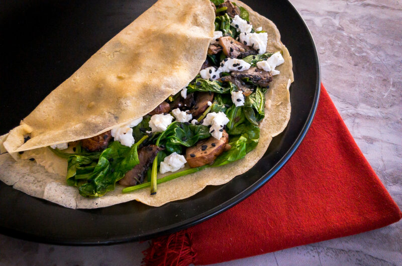 Spinach and Mushroom Crepe – Gluten-free