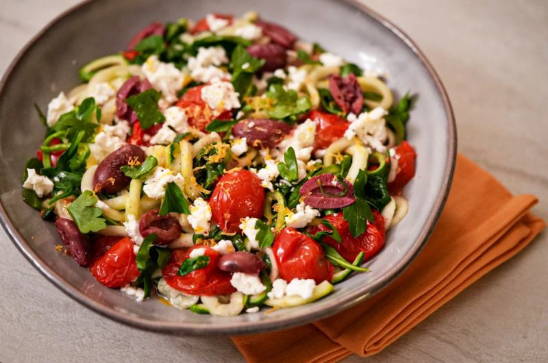 Spiralized Zucchini with Roasted Tomatoes, Spinach, Olives and Feta Cheese