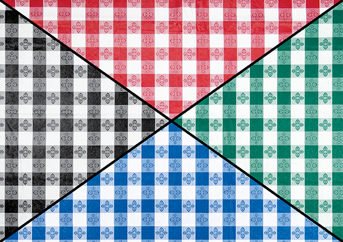 Plastic checkered tablecloth