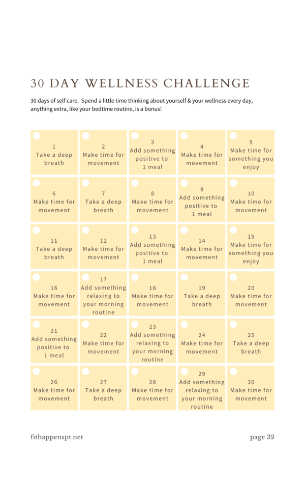 Fitness guide, fitness challenge, workout program