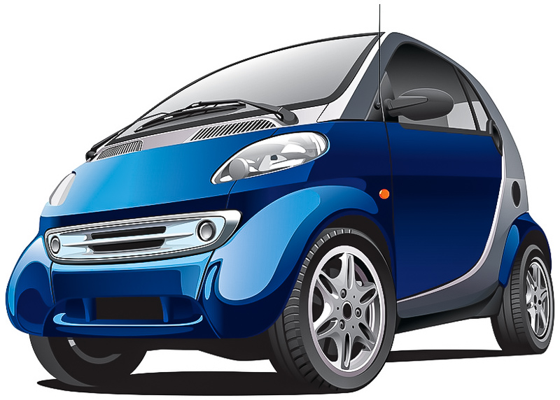 blue subcompact car