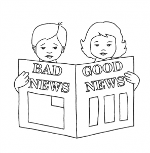 Boy & Girl reading newspaper