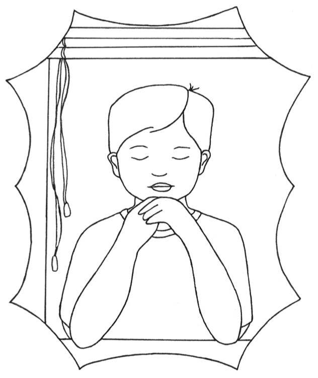 Boy Praying in Window