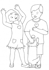 Girl - Hands in Air w Boy and Dog