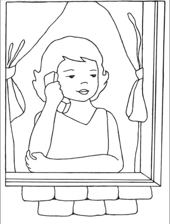 Girl on Phone in Window