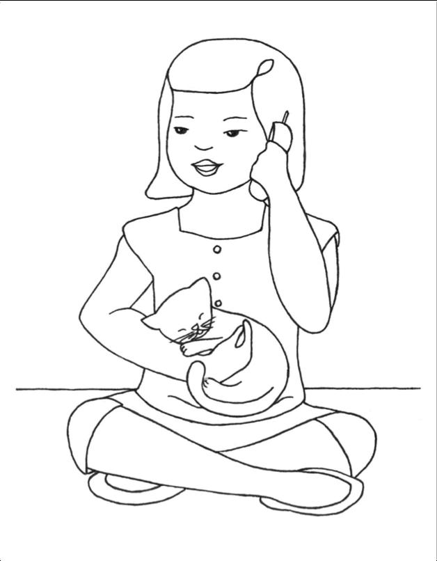 Girl on Phone w Cat