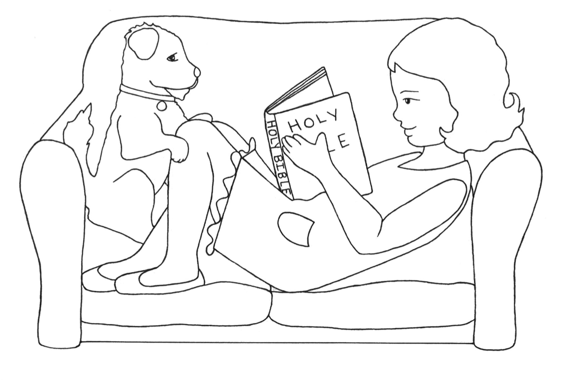 Girl reading Bible on Couch w Dog