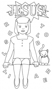 Girl sitting w cat and assorted letters