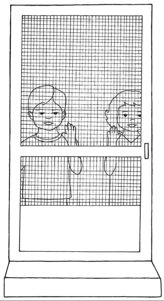 Screen Door w Boy & Girl