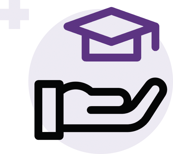 Illustration of a hand holding a purple graduation cap representing kids in schools
