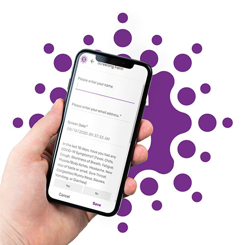 Image of a hand holding a smartphone with a Scrivas questionnare loaded on the screen