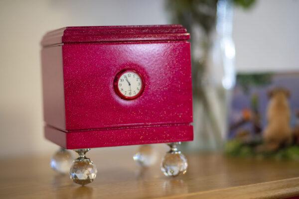 Shimmering Wood Pet Urn in Pink Glitter, Clock, Prism Ball Feet