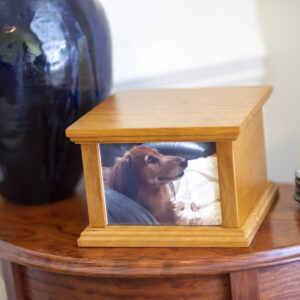 Cherry Pet Photo Urn with Satin Finish