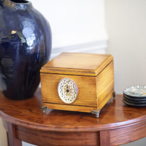 Solid Oak Pet Memorial with Antique Finish, Clock, and Brass Feet