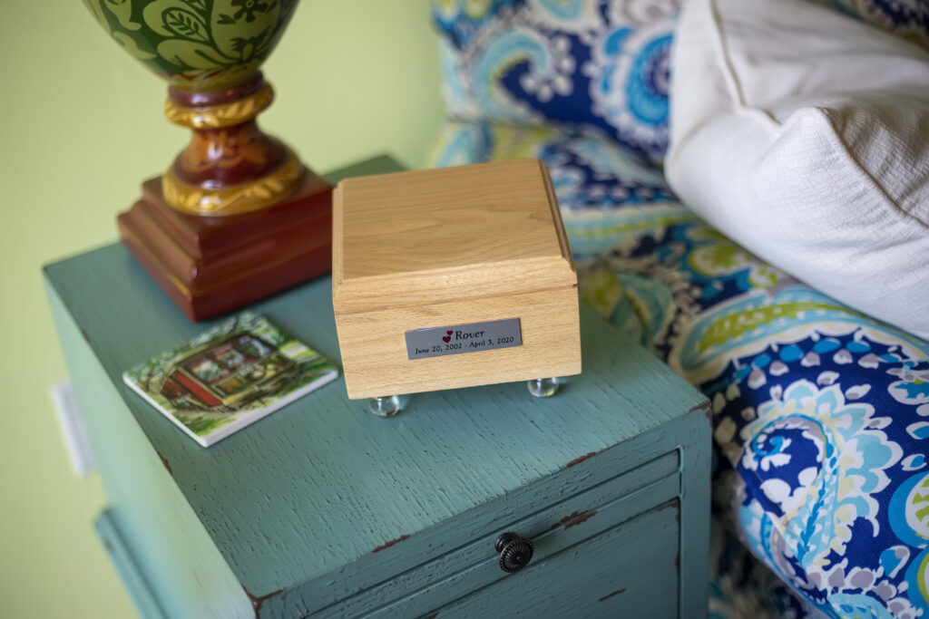 Natural Oak Pet Urn with Glass Ball Feet and Silver Name Plate