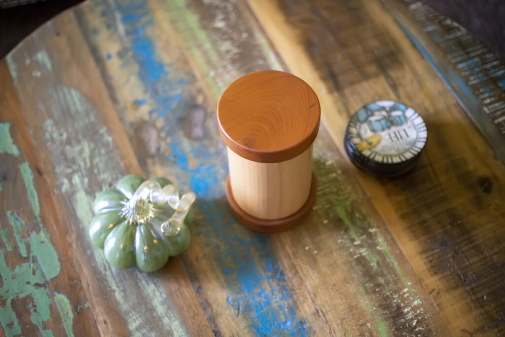 All Natural Maple Cylinder Pet Urn with Cherry Caps
