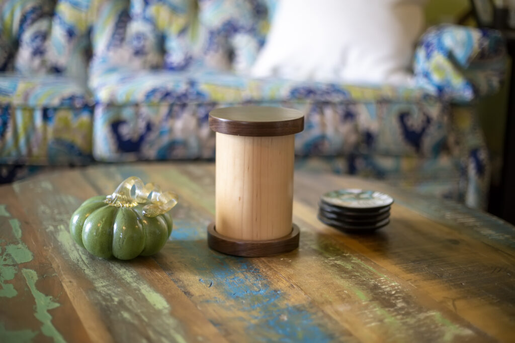 All Natural Maple Cylinder Pet Urn with Walnut Caps