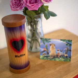 Natural Oak Pet Urn with Wood Burned Heart