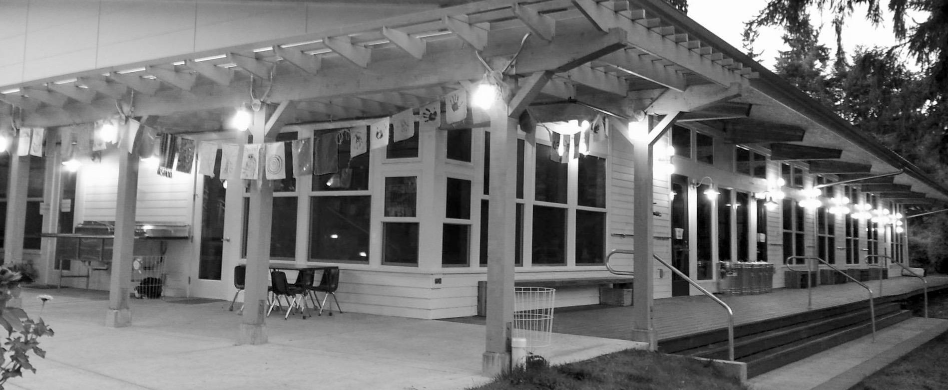 Attic building at night