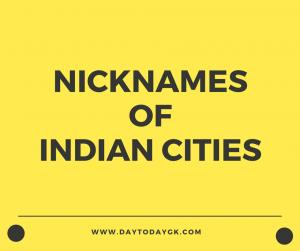 Nicknames of Indian Cities
