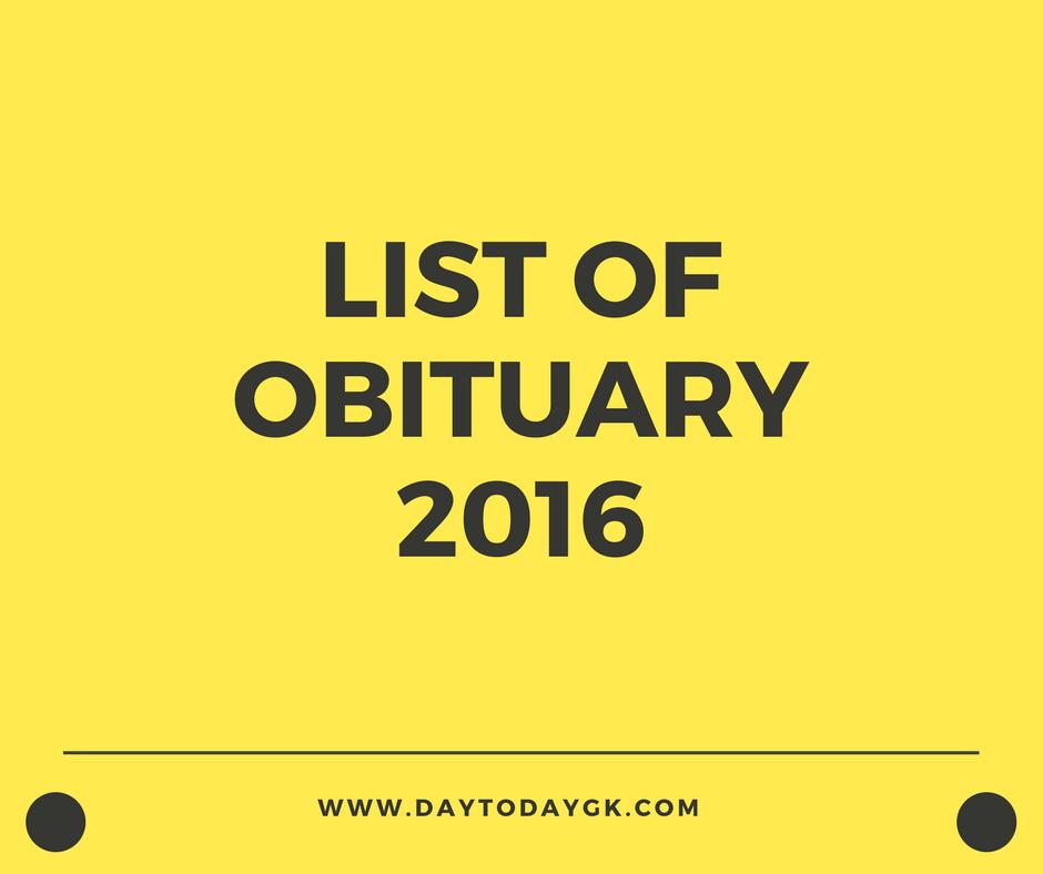 list of obituary