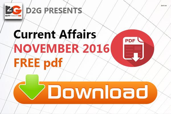 Current Affairs November 2016 PDF