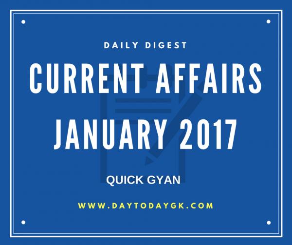 Current Affairs January 2017