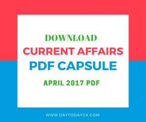 Current Affairs April 2017 PDF