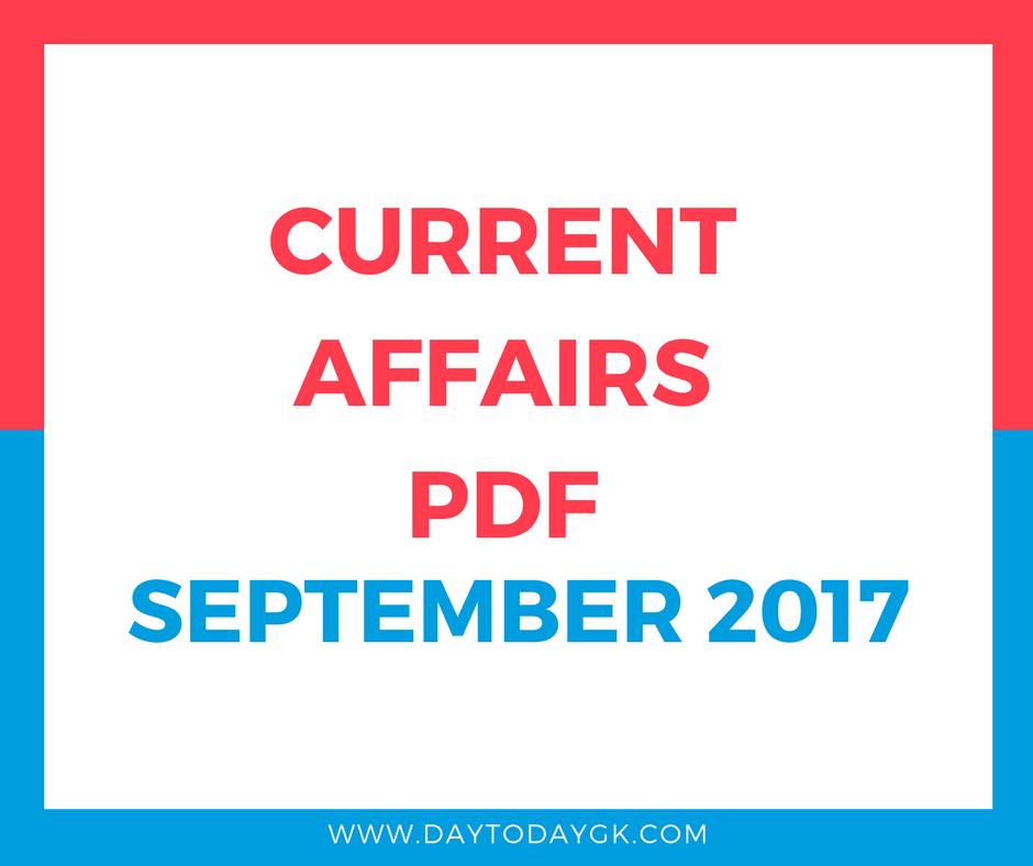 Current Affairs September 2017 PDF