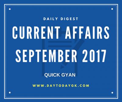 Current Affairs September 2017
