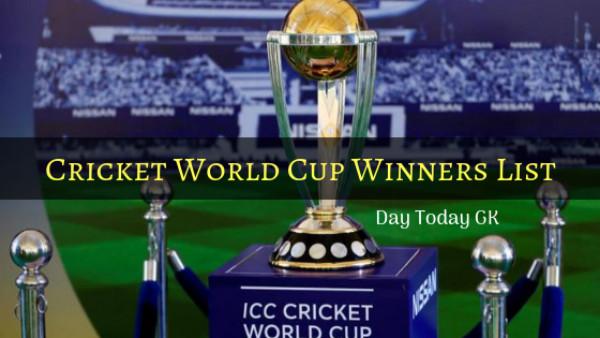 Cricket World Cup Winners List
