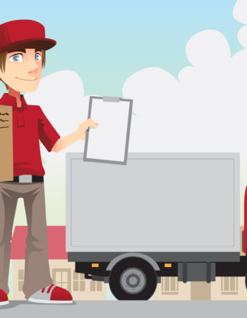 A vector illustration of a delivery person delivering a package