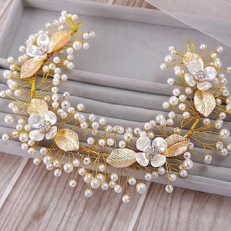 2015-Wedding-Accessories-Gold-Plated-Vintage-Metallic-Leaf-Multi-Tiny-Pearls-Beaded-Crystal-Flower-Bridal-Hairband