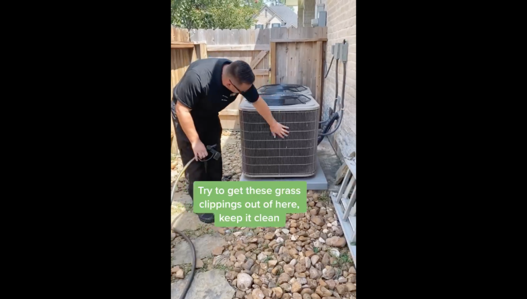 Cleaning A/C Unit of grass clippings