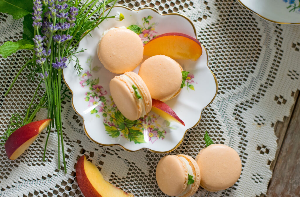 Peaches and Cream French Macarons