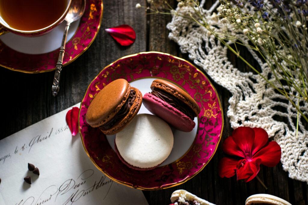 Dark Chocolate Cherry French Macarons