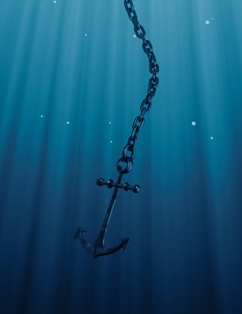 Anchor and chain falling underwater