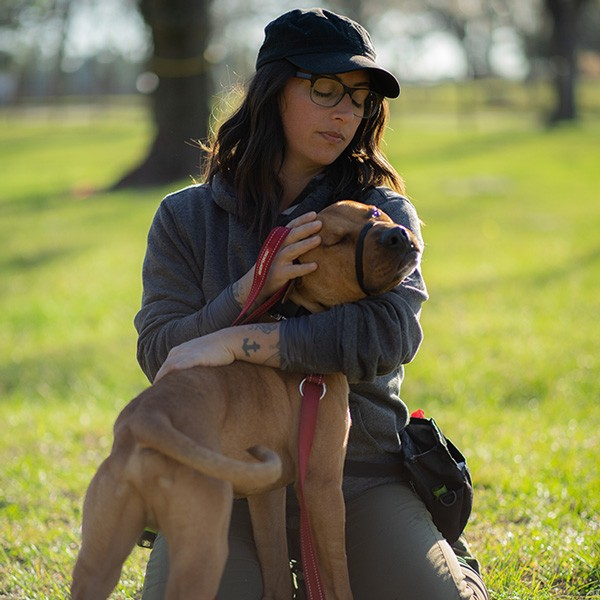 Heela Homman with Reggie at Canine Center