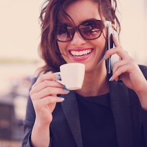 Sales woman answering main business phone number