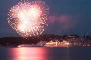 Fireworks during Hapag-Lloyd Europa2 ship charter cruise in Europe