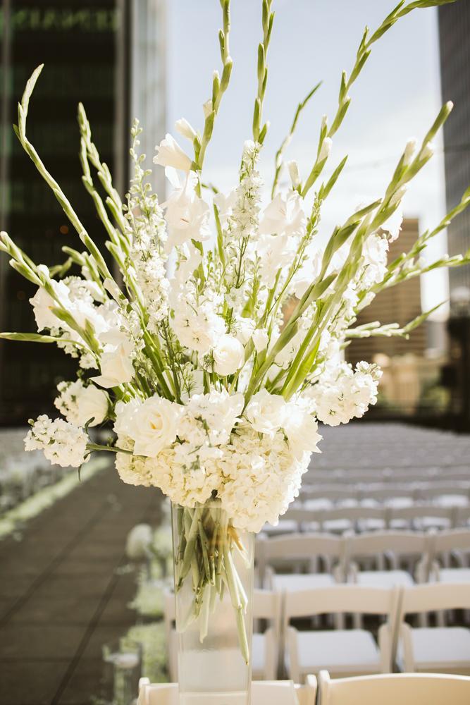 Outdoor ceremony floral arrangement