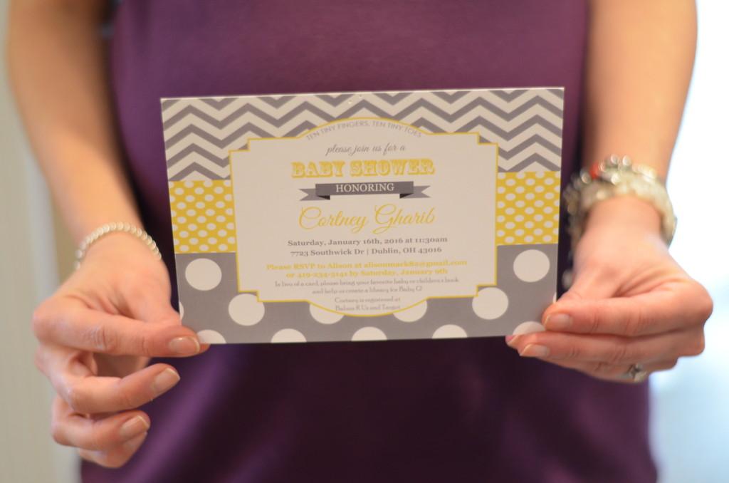 Yellow and gray baby shower invite