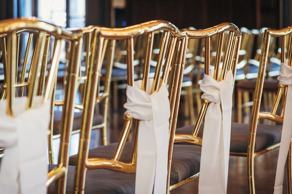 Gold chairs with fabric