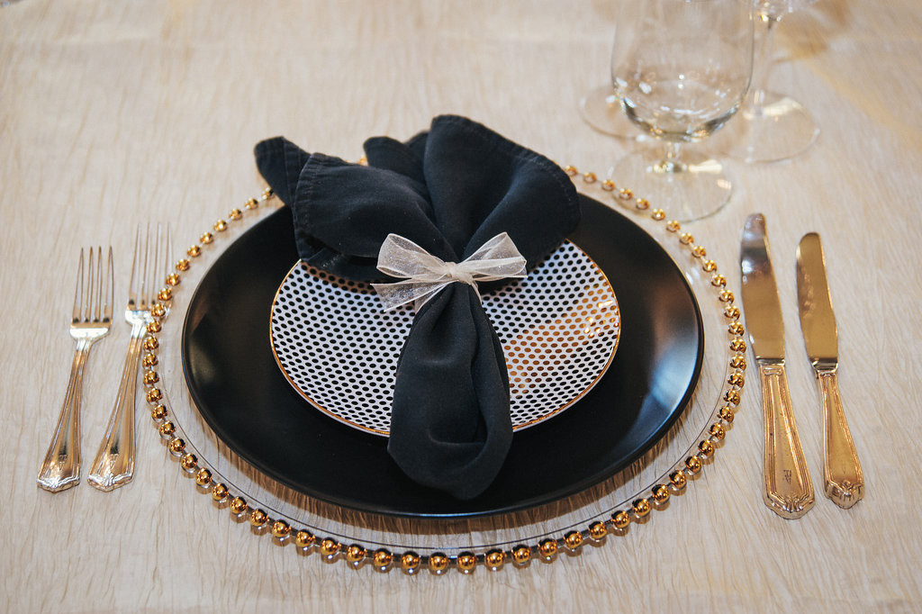Table setting with black napkin