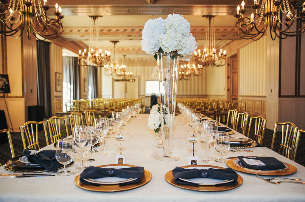 Table with gold and black accents