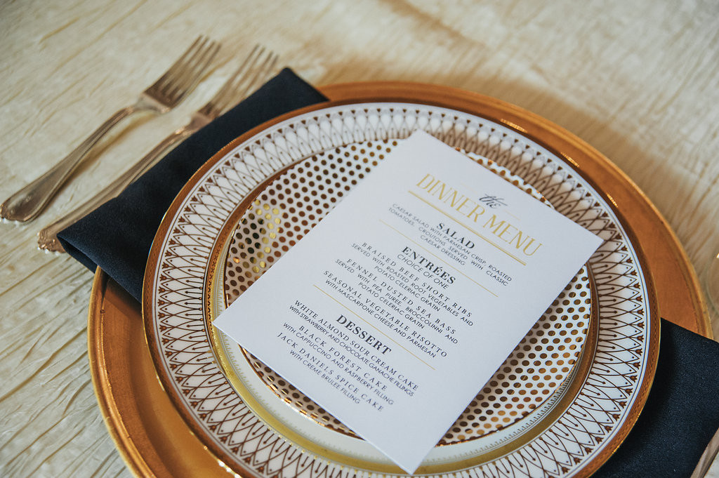 Table setting with detailed plate
