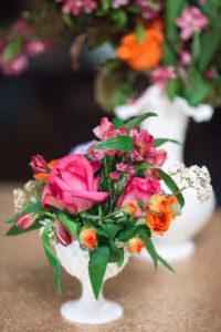 Pink and orange florals
