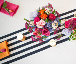 Black and white table runner- pink and blue florals